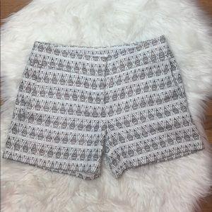 Ann Taylor LOFT Textured Geo Ivory Riviera Shorts